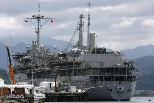 The USS Emory S. Land, a submarine support vessel that is part of a US military buildup, is seen docked in Subic Bay, north of Manila. As of October, 70 US Navy ships had passed through Subic, more than the 55 in 2011 and the 51 in 2010. Cheryl Ravelo/Reuters (The USS Emory S. Land, a submarine support vessel that is part of a US military buildup, is seen docked in Subic Bay, north of Manila. As of October, 70 US Navy ships had passed through Subic, more than the 55 in 2011 and the 51 in 2010. Cheryl Ravelo/Reuters)
