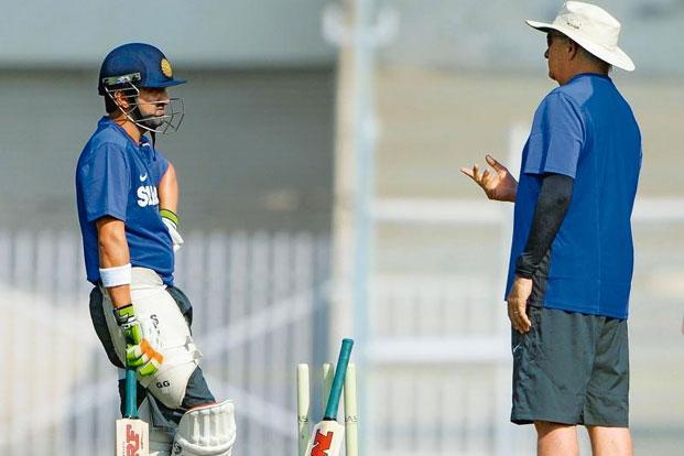 The Virender Sehwag and Gautam Gambhir (left, with coach Duncan Fletcher) partnership has had little success against stronger Test teams. Photo: Indranil Mukherjee/AFP