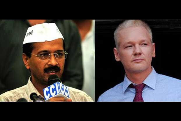 Ironically, if there are any other similarities between (left) Kejriwal and Assange, it's in their style of functioning which has led to dissension in the ranks. Photo: Ramesh Pathania/Mint; AFP