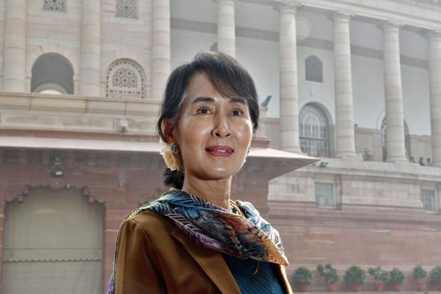 Myanmar's opposition leader Aung San Suu Kyi in front of the Parliament building in New Delhi on Thursday. Photo: Reuters