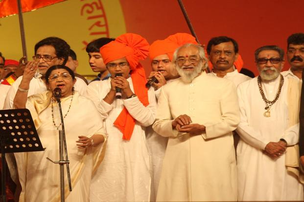 Singer Lata Mangeshkar, historian and writer Babasaheb Purandare and Bal Thackeray at the golden jubilee celebrations of Maharashtra at the Bandra Kurla Complex in Mumbai in 2010. HT