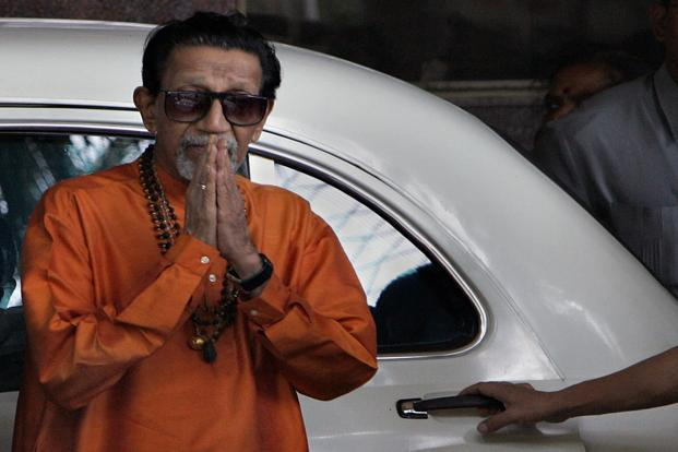 Bal Thackeray at Hinduja Hospital after the death of Pramod Mahajan in 2006. HT