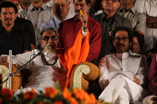 Bal Thackeray (left) along with his son Uddhav at a rally in Thane. HT