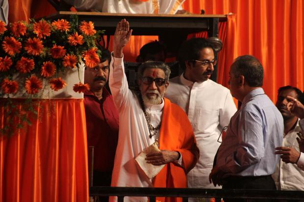 Bal Thackeray waves to the crowd at a rally in Thane. Photo: Praful Gangurde