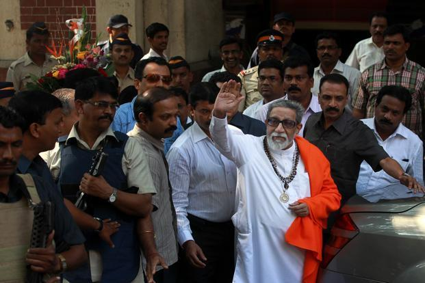 Bal Thackeray exits an eye clinic after a check-up, at Fort in Mumbai. HT
