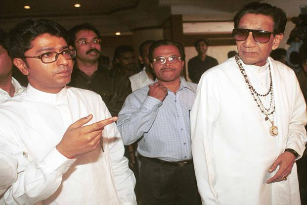 Bal Thackeray with nephew Raj (left) and son Uddhav (rear left) at a press conference in Mumbai in 2002. HT