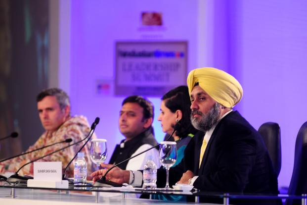 UP chief minister Akhilesh Yadav, Jammu & Kashmir chief minister Omar Abdullah and deputy chief minister of Punjab Sukhbir Singh Badal on the second day of Hindustan Times Leadership Summit in New Delhi. Photo: Pradeep Gaur/ Mint