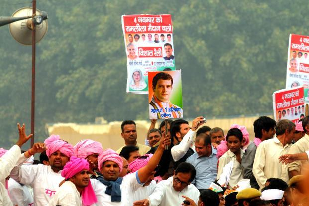 A file photo of Congress's rally held in New Delhi on 4 November. Photo: Ramesh Pathania/Mint