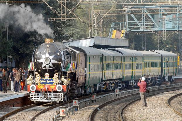 A file photo of a heritage steam engine in New Delhi. Photo: HT