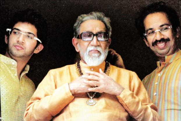 A file photo of Bal Thackeray with his son Uddhav (right) and grandson Aditya. Photo: PTI