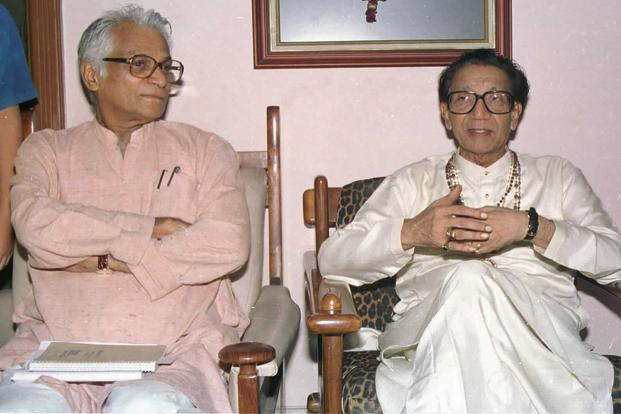 Bal Thackeray with former NDA convenor George Fernandes at his residence in Mumbai. HT