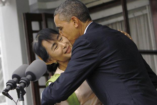 US President Barack Obama with Myanmar's opposition leader Aung San Suu Kyi after their meeting at her residence in Yangon on Monday. Photo: Soe Zeya Tun/Reuters