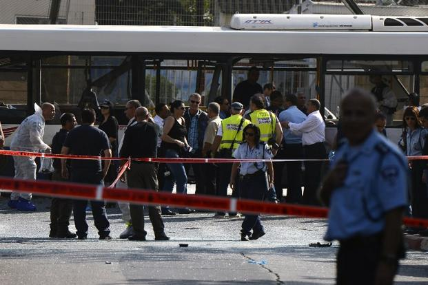 Police said the blast took place on a street which runs just behind the Kiriya, Israel's sprawling defence ministry. Photo: Jonathan Nackstrand/AFP