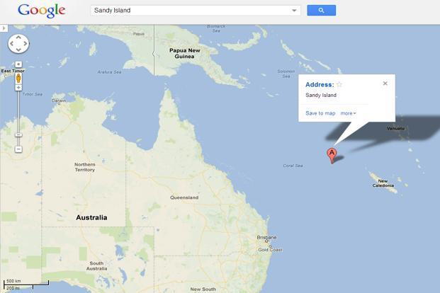 the island in the coral sea is shown as sandy island on google earth and google