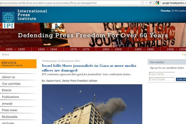 A screenshot of IPI's website. IPI's figures differ from that of other media watchdogs such as Reporters without Borders, as it includes not just targeted killings, but all journalist deaths on the job.