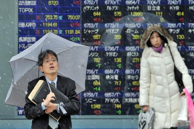 Japan's Nikkei stock average jumped 1.2% to a 6-1/2-month high as exporters were lifted by hopes the weakening yen would boost their earnings. Photo: AFP