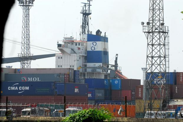 A file photo of containers at Kolkata port. The winner of the bid will have to invest funds to erect cranes at the facility, which will have the capacity to handle 125,000 standard containers a year. Photo: Indranil Bhoumik/Mint