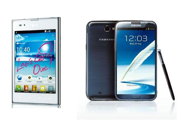 LG Optimus Vu (left) and Samsung Galaxy Note II