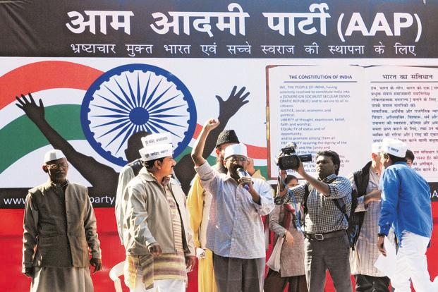 Arvind Kejrival addresses a rally at the launch of his  Aam Aadmi Party on Monday. Kejriwal says he had been 'personally hostile to the idea' of turning political and that the decision to launch a political forum was made only after six-seven months of brainstorming within his team.