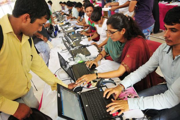 A file photo of Aadhaar verification being done in New Delhi.  Photo: Ramesh Pathania/Mint (Ramesh Pathania/Mint)