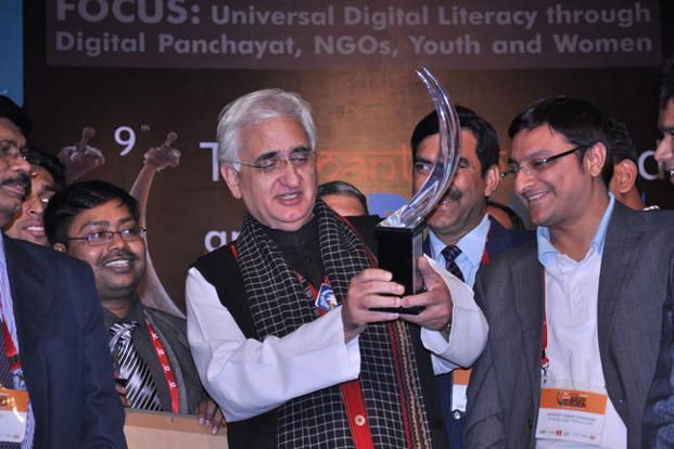 External affairs minister Salman Khurshid hands out the award to the winners in New Delhi.