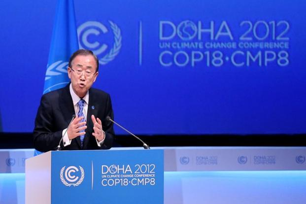 "Ban Ki-moon said the world was faced by a global warming ""crisis"" and urged bickering negotiators at climate talks in Doha to show ""strong political commitment"" and compromise. Photo: Karim Jaafar/AFP/Al-Watan Doha"