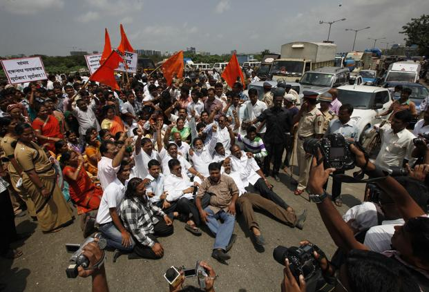 A file photo of protesters in Mumbai. Photo: HT