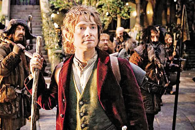 Martin Freeman as Bilbo Baggins, the main protagonist of the trilogy.