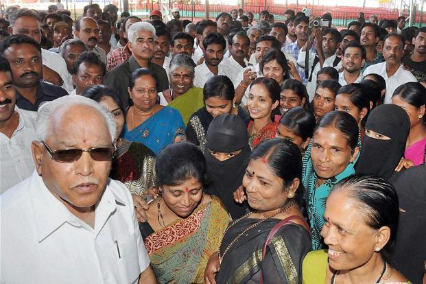B.S. Yeddyurappa with party workers in Karnataka on Saturday. Photo: PTI