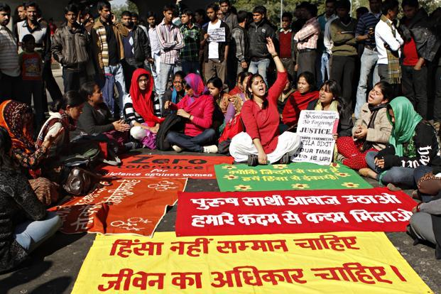 Students of Jawaharlal Nehru University (JNU) and other colleges at a protest at Munirka crossing, New Delhi.