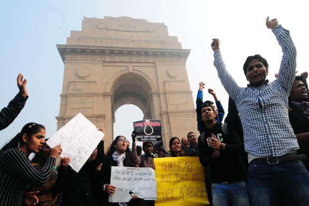 Protesters at India Gate on Sunday. Photo: Ramesh Pathania/Mint
