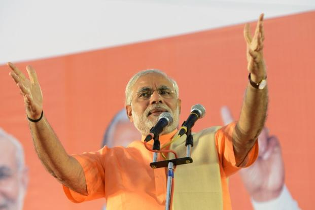 Gujarat chief minister Narendra Modi at a political rally in Ahmedabad. Photo: AFP