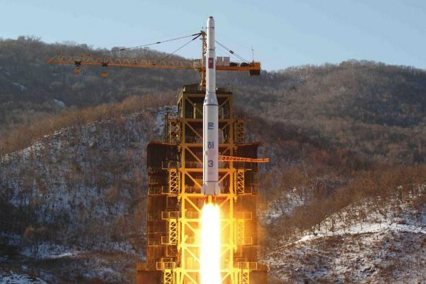 A file photo taken by North Korea's official KCNA news agency shows North Korean rocket Unha-3, carrying the satellite Kwangmyongsong-3, lifting off from the launching pad in Cholsan county, North Pyongan province in North Korea on 12 December. Photo: AFP