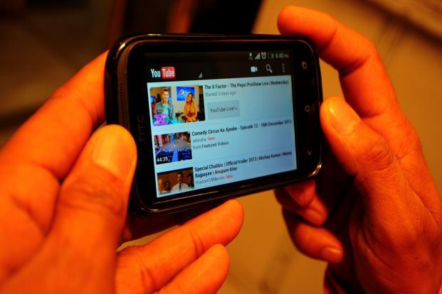 Users in India spent an aggregate 50 million hours a month on YouTube, the video platform of Google Inc., according to a comScore Inc. report for November. Photo: Ramesh Pathania/Mint