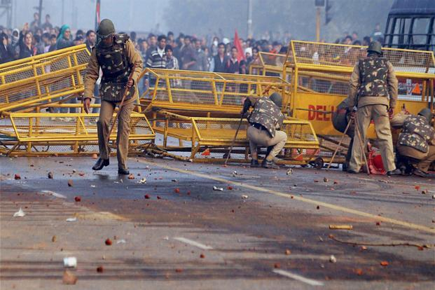 Protesters in New Delhi on Sunday. Photo: PTI