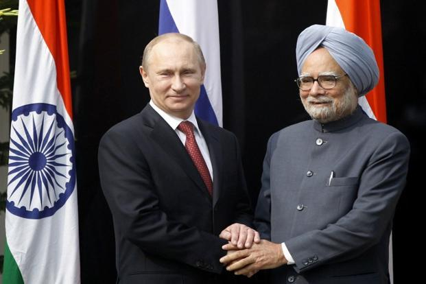 Russian President Vladimir Putin (left) with Prime Minister Manmohan Singh in New Delhi on Monday. Photo: Mustafa Quraishi/AFP