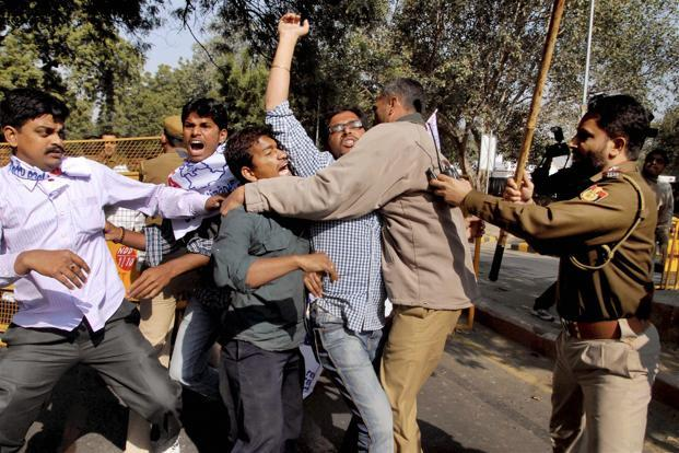 Pro-Telanga students protest at Jantar Mantar in New Delhi on 9 December. Photo: PTI