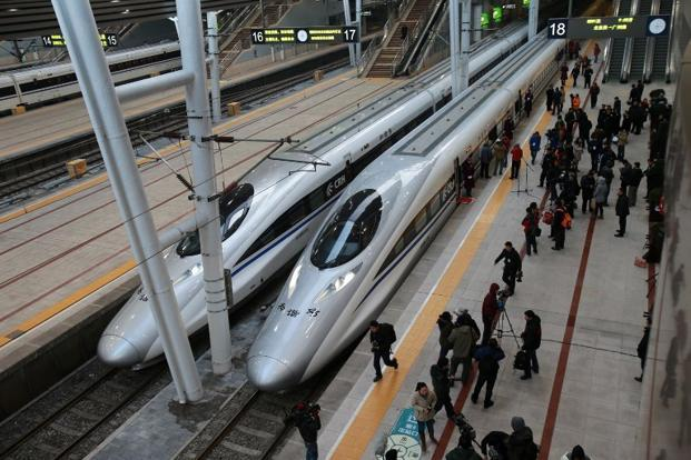 The high speed train of the new 2,298km-line between Beijing and Guangzhou as it waits to start off in Beijing on Wednesday. Photo: AFP