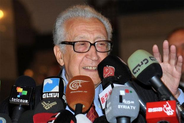 International peace envoy Lakhdar Brahimi gives a press conference at a Damascus hotel on Thursday. Brahimi said only a substantial change would meet the demands of ordinary Syrians. Photo: AFP