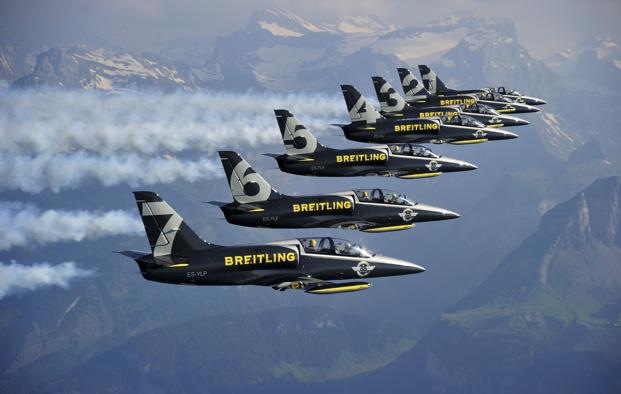 The Breilting Jet Team is one of the world's largest civilian air display teams, and quite possibly Europe's largest.