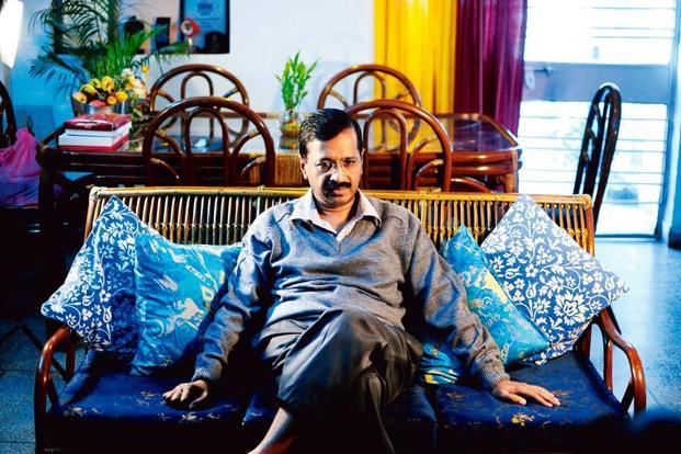 Kejriwal at his Ghaziabad residence. Photo: Pradeep Gaur/Mint