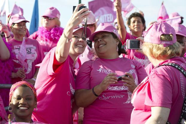 Breast cancer survivors during the Susan G. Komen Foundation's 2012 Race for the Cure in Washington. Photo: Joshua Roberts/Reuters