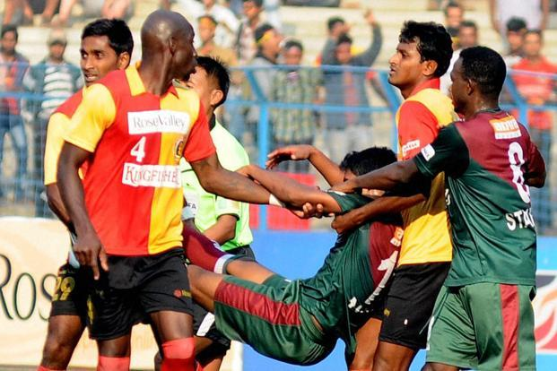 A file photo of the troubled match in which Mohun Bagan's midfielder Syed Rahim Nabi was hit by a piece of brick from the gallery at the half time during I-League match in Kolkata on Sunday. Photo: PTI