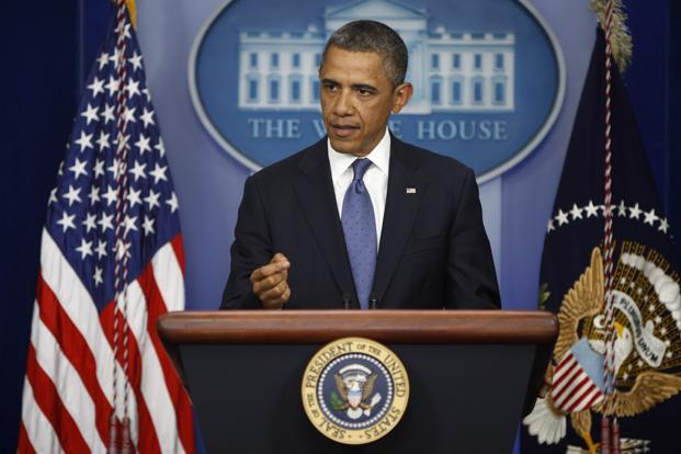 President Obama makes a statement to reporters after meeting with congressional leaders at the White House in Washington on Friday. Photo:  Reuters