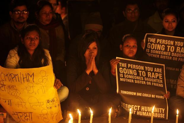 A candlelight vigil at Jantar Mantar in New Delhi on Sunday. Photo: Raj K Raj/Hindustan Times