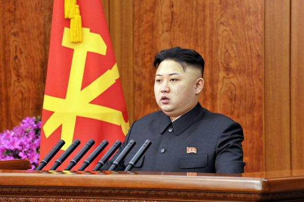 North Korean leader Kim Jong Un delivers a New Year's Day address in Pyongyang. Photo: AFP