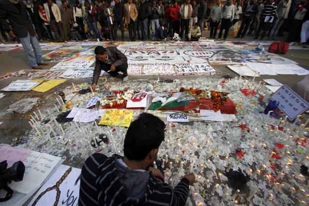 People paying tribute to the Delhi gang-rape victim in a demonstration at Jantar Mantar, in New Delhi, on 1 January. Photo: Nadeem Hassan/Hindustan Times
