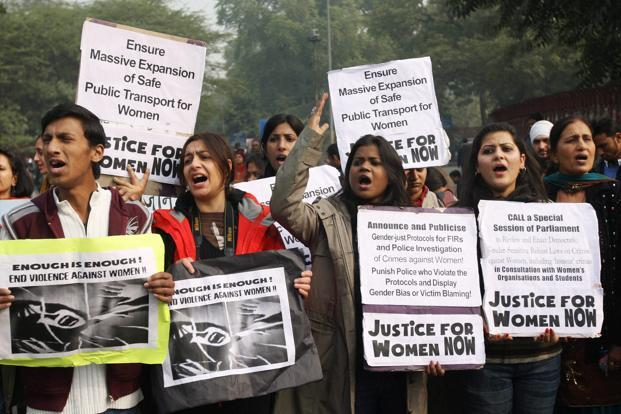 A file photo of activists at a protest march in New Delhi. Photo: PTI