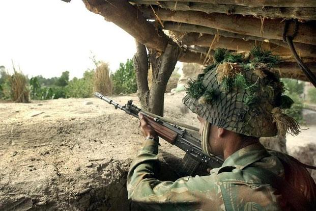 A file photo shows an Indian army soldier at an undisclosed area near India-Pakistan border some 30km from Jammu. Photo: AFP