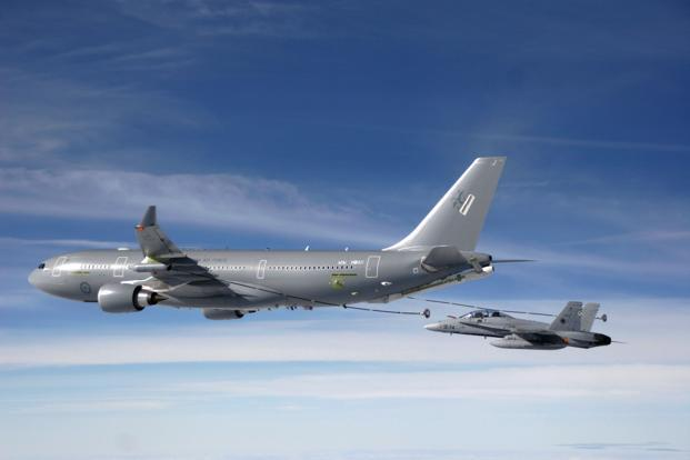 A photo depicting a KC-45 refuelling tanker from the Royal Australian Air Force refuelling an F18 fighter jet from the Spanish air force. The KC-45 is a militarized version of Airbus' A330, formerly called KC-30. Photo: AFP